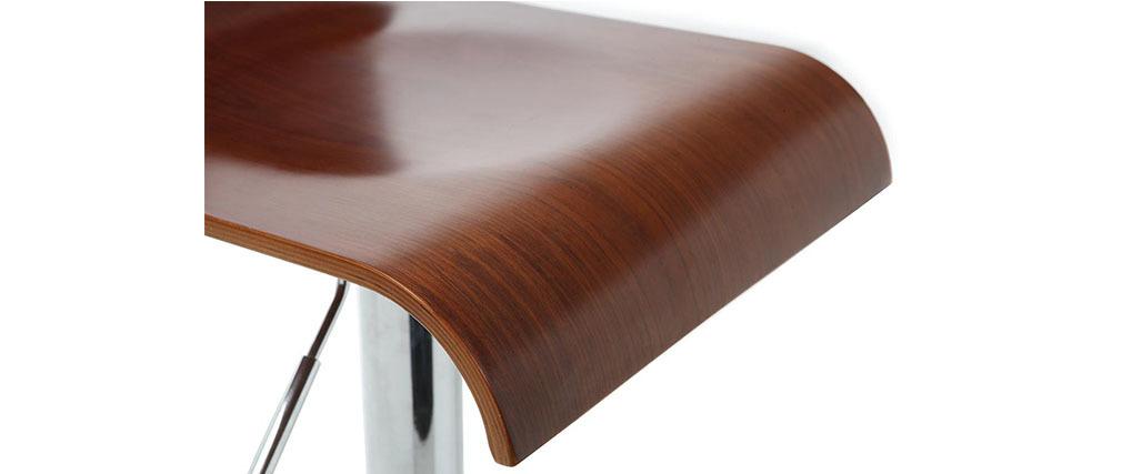 Lot de 2 tabouret de bar / cuisine design bois coloris noyer SURF V2