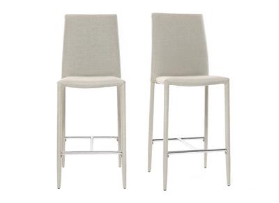 Lot de 2 tabourets / chaises de bar design gris clair TALOS