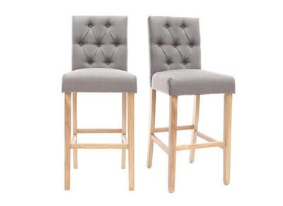 Lot de 2 tabourets/chaises de bar tissu gris clair H75cm RIVOLI