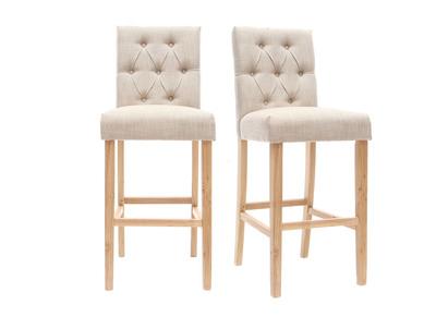 Lot de 2 tabourets/chaises de bar tissu naturel H75cm RIVOLI