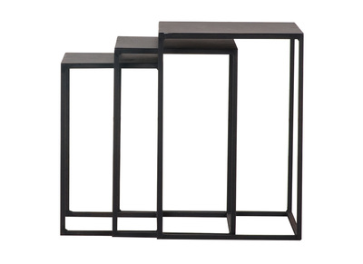 Lot de 3 tables gigognes metal noir KARL