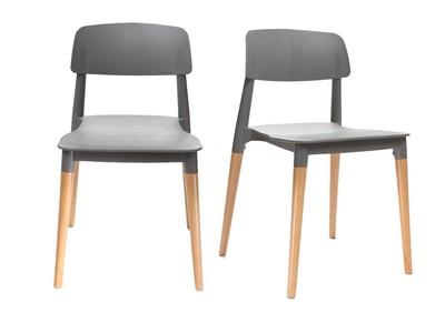 Lot de deux chaises design scandinave grises GILDA