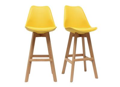 Lot de deux tabourets de bar design jaune et bois 65cm PAULINE