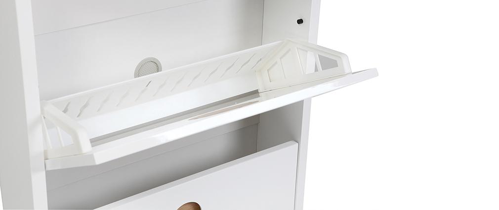 Meuble à chaussures 3 tiroirs blanc brillant et frêne KOPEN