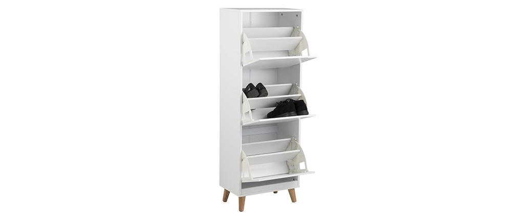 Meuble à chaussures scandinave 3 casiers bois et blanc MITRAA