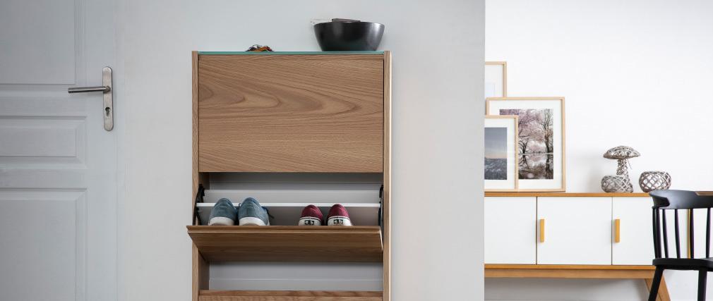 Meuble à chaussures scandinave 3 compartiments chêne ZAPPA