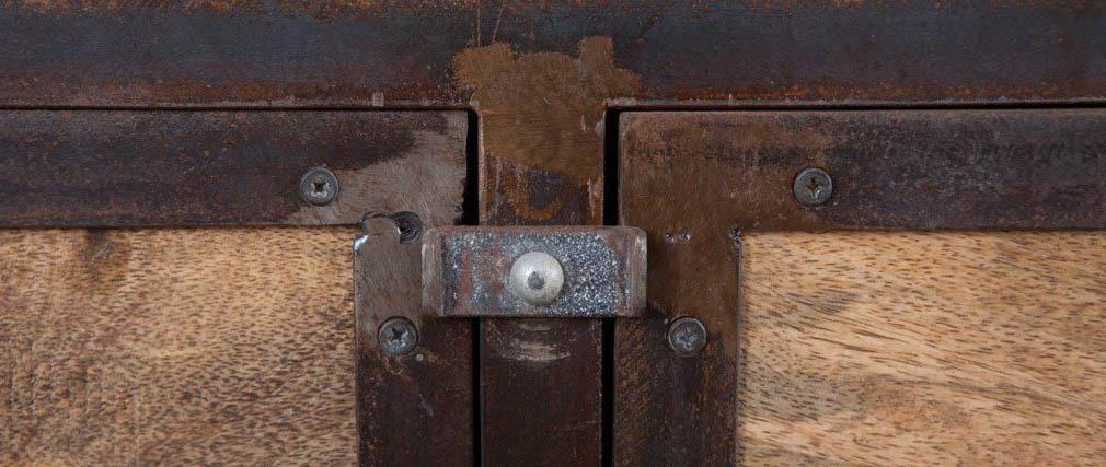 Meuble de rangement industriel en métal et bois de manguier INDUSTRIA