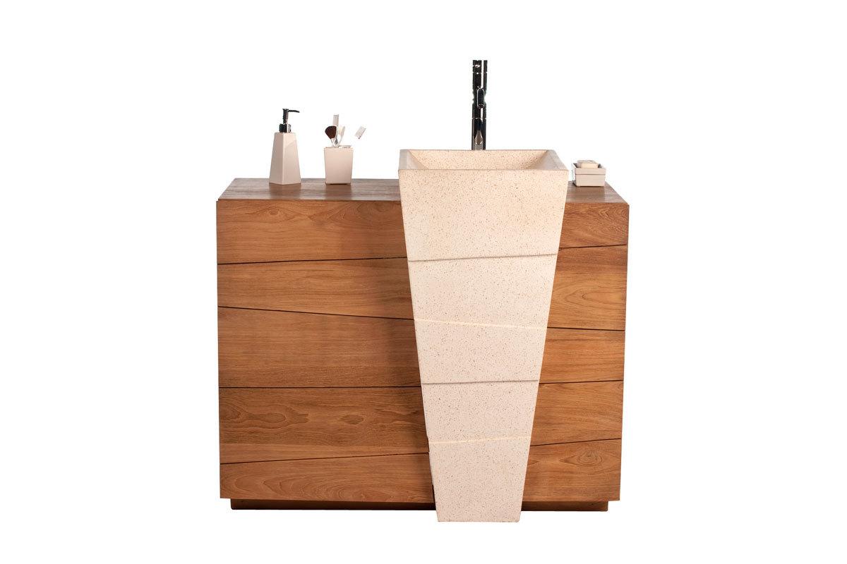 Meuble de salle de bain design ethnique en teck et terrazzo vasque encastrée ARU