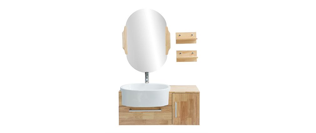 Meuble de salle de bain : vasque, meuble sous-vasque, étagères et miroir NIVAN