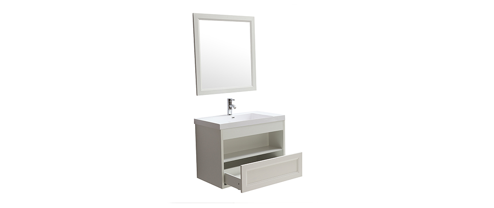 Meuble de salle de bains suspendu avec vasque, miroir et rangement blanc RIVER