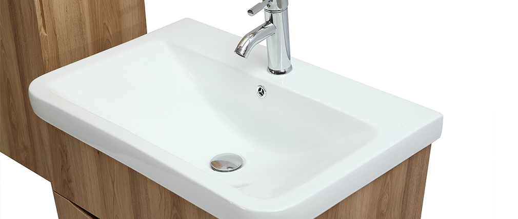 Meuble et colonne de salle de bains bois avec vasque, miroir et rangements WILD