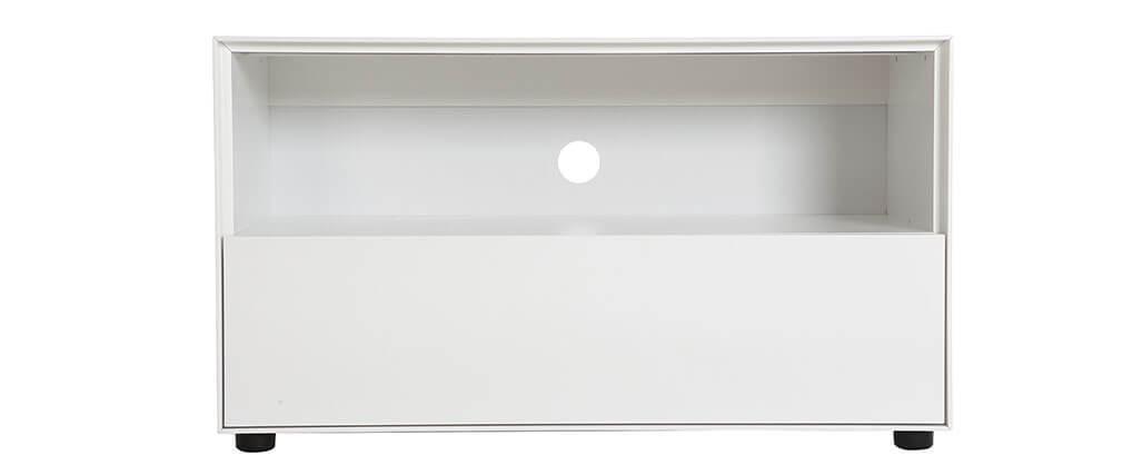 Meuble TV design 90cm blanc mat  1 tiroir MARK