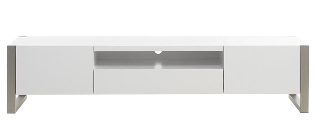 Meuble TV design avec rangements blanc et métal MAGNA