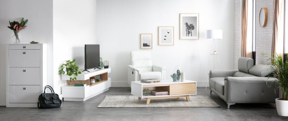 Meuble TV design blanc et bois LIVO - Miliboo & Stéphane Plaza