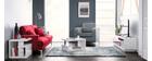 Meuble TV design laqué blanc avec tiroirs gris ETANA