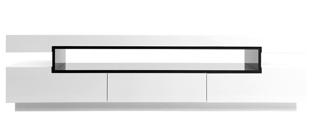 Meuble TV design laqué blanc brillant LIVO