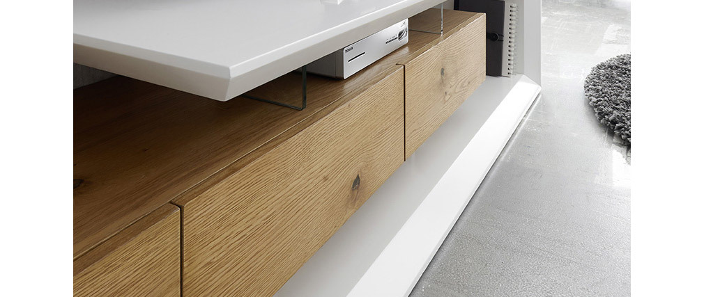 Meuble TV design laqué blanc et bois RITUEL