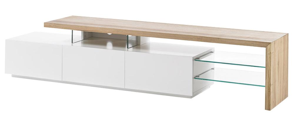 Meuble TV design laqué blanc mat plateau chêne L204 cm MEDIA