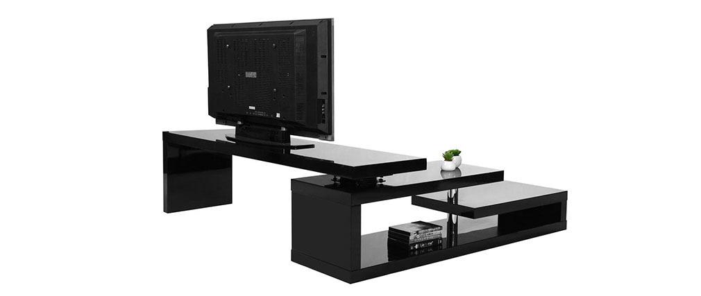 Meuble TV design laqué brillant noir pivotant MAX V2