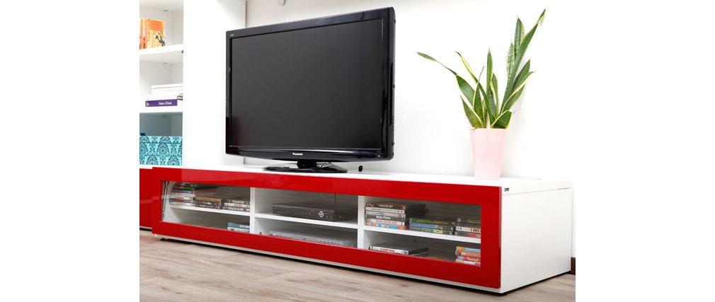 meuble tv rouge et blanc maison design. Black Bedroom Furniture Sets. Home Design Ideas