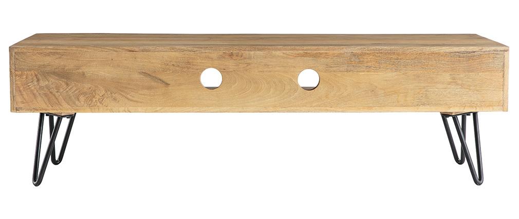 Meuble TV design manguier pieds épingle métal VIBES