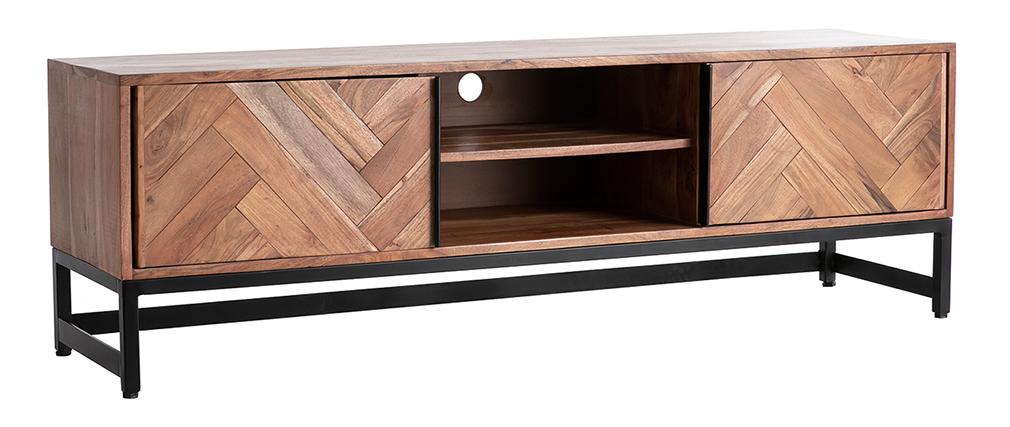 Meuble TV en acacia massif et métal noir STICK