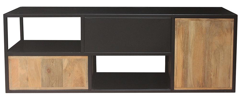 Meuble TV en manguier massif et métal noir JAIPUR - Miliboo & Stéphane Plaza