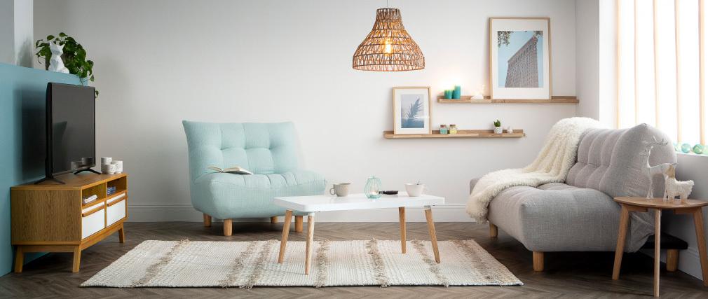 Meuble TV scandinave blanc et bois HELIA