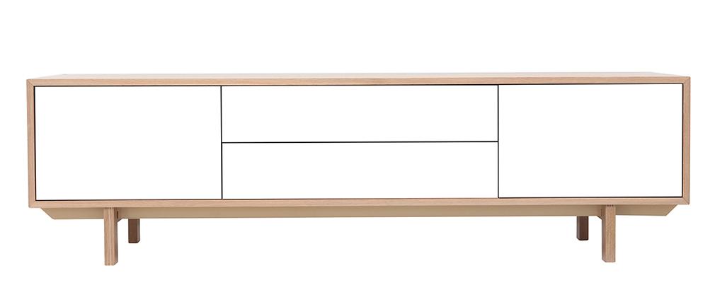 Meuble TV scandinave bois et blanc 180cm SID