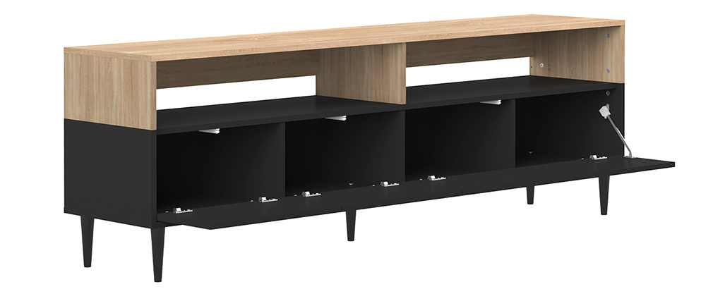 Meuble TV scandinave bois et noir STRIPE