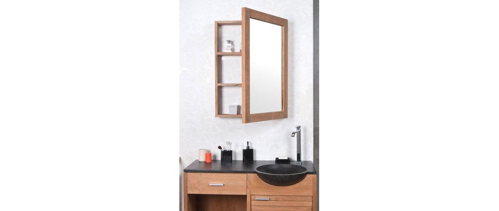 Miroir de salle de bain design en teck avec rangement ARIKA