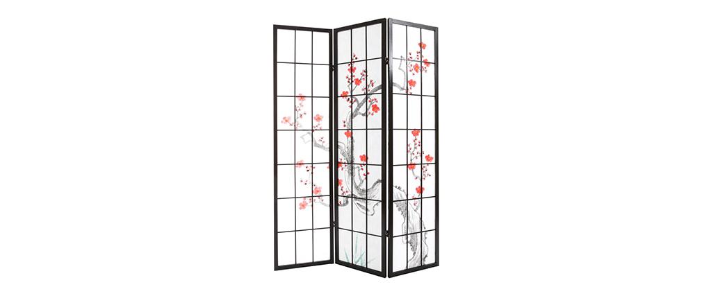 Paravent japonais en bois noir et papier SAKURA