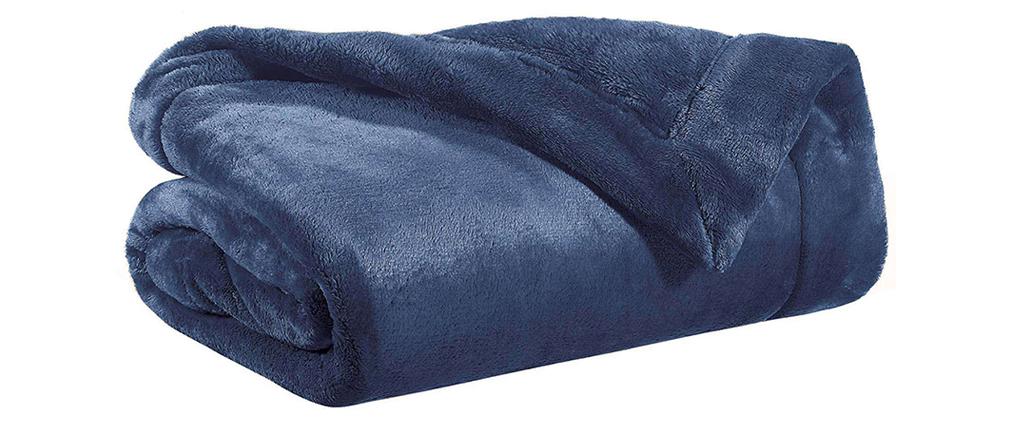 Plaid en polyester bleu 150 x 200 cm FERO