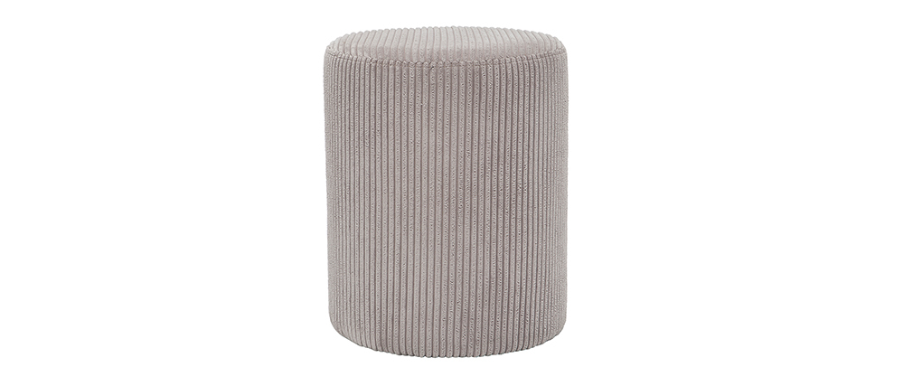 Pouf en velours côtelé gris D40 cm DUROY
