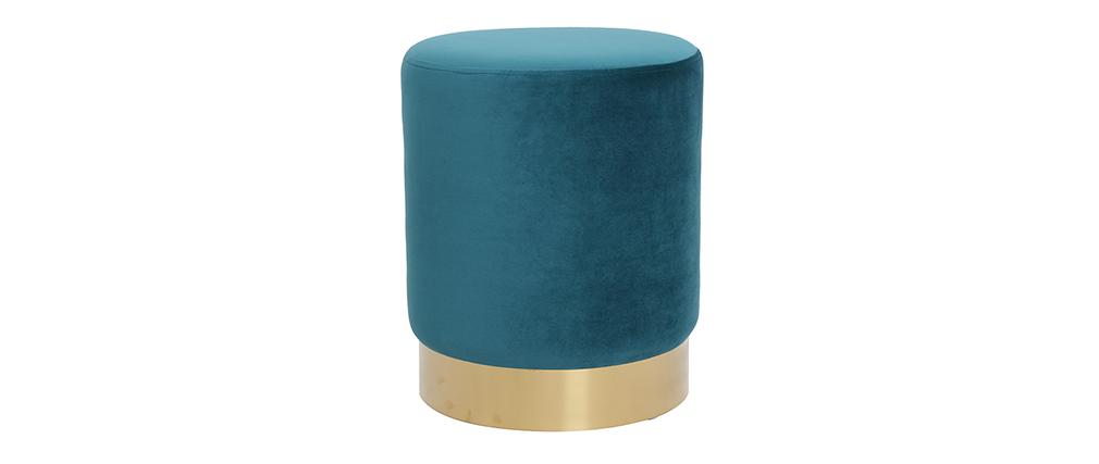 Pouf rond en velours bleu canard et métal doré AMAYA
