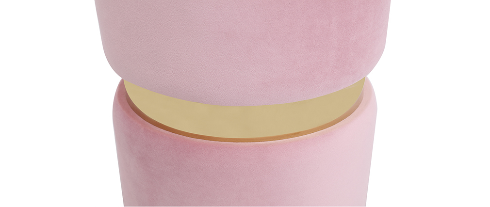 Pouf rond en velours rose et métal doré JOY