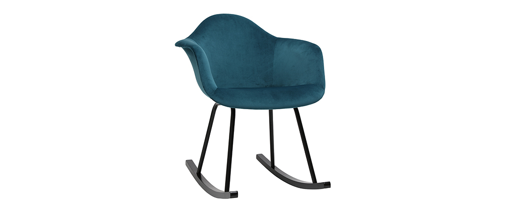 Rocking chair design effet velours bleu pétrole MAMBO