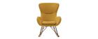 Rocking chair design tissu effet velours jaune moutarde ESKUA