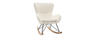 Rocking chair design tissu mouton blanc ESKUA