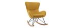 Rocking chair design velours jaune moutarde ESKUA