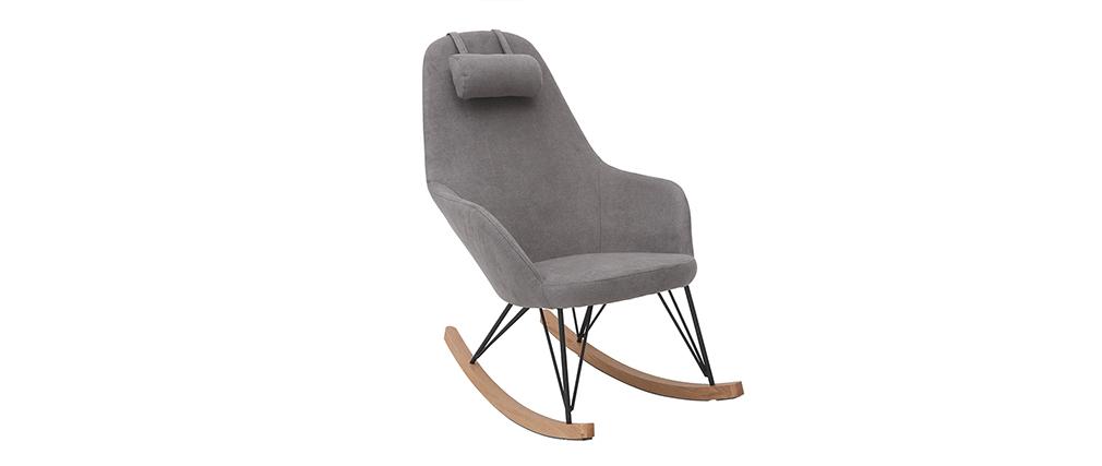 Rocking chair en tissu velours gris avec pieds métal et bois JHENE