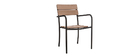 Salon de jardin avec table bistrot et 2 chaises noir et bois PUB
