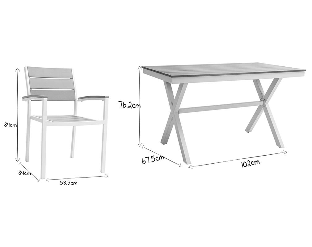 Salon de jardin avec table et 4 chaises blanc et gris ...