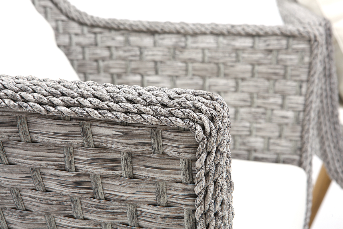 Salon de jardin en résine tressée avec table basse gris et ...