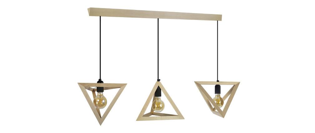 Suspension design en bois 3 lampes DUNE