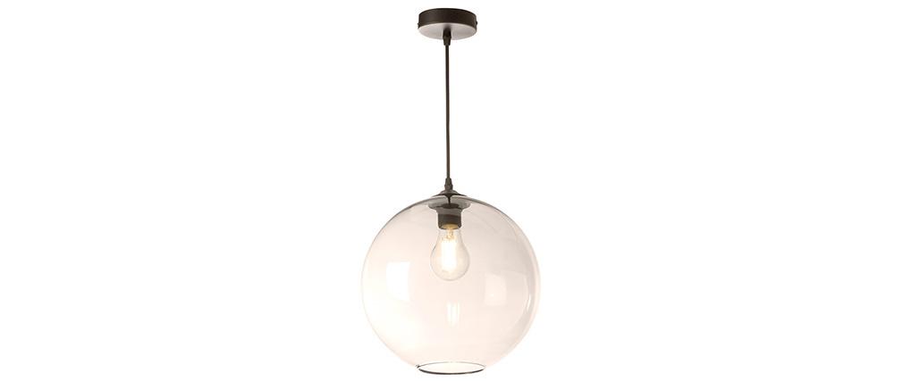 Suspension globe en verre ambré D30 cm DUNA