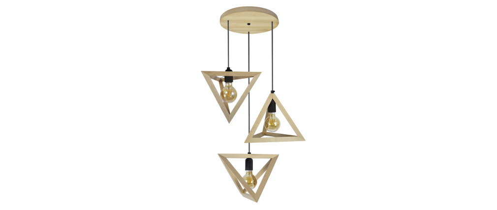 Suspension pyramide en bois 3 lampes DUNE