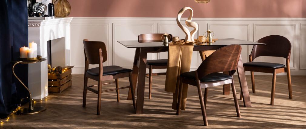 Table à manger design en verre fumé noir et bois L160 cm BACCO