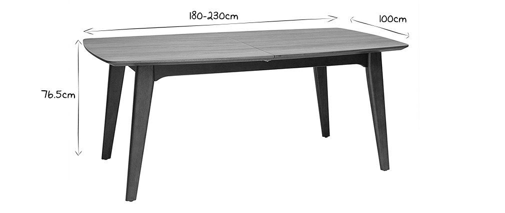 Table à manger design extensible noyer L180-230 cm FIFTIES