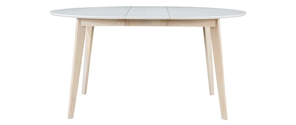 Table à manger design ronde extensible blanc et bois L120-150 cm LEENA